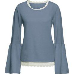 Swetry klasyczne damskie: Sweter z koronkowym topem (2 części) bonprix niebieski melanż – kremowy