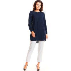 Granatowa Elegancka Asymetryczna Koszula z Krytym Zapięciem. Czerwone koszule damskie marki Molly.pl, l, z jeansu, biznesowe, z dekoltem na plecach, z długim rękawem. Za 118,90 zł.