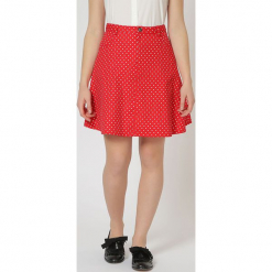 Spódnica w kolorze czerwonym. Czerwone spódniczki rozkloszowane TrakaBarraka, xs, w kropki, midi. W wyprzedaży za 89,95 zł.