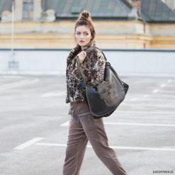 Duża torba skórzana. Zestaw TATTOO. Czarne torebki klasyczne damskie Pakamera, ze skóry, duże. Za 2200,00 zł.