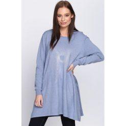 Niebieski Sweter Proportionate. Niebieskie swetry klasyczne damskie Born2be, l, z dzianiny. Za 54,99 zł.