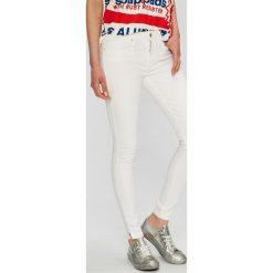 Tommy Hilfiger - Jeansy. Szare jeansy damskie rurki marki TOMMY HILFIGER, m, z nadrukiem, z bawełny, casualowe, z okrągłym kołnierzem. W wyprzedaży za 329,90 zł.
