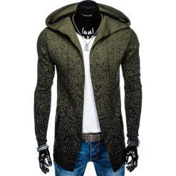SWETER MĘSKI NARZUTKA Z KAPTUREM E124 - KHAKI. Zielone swetry klasyczne męskie marki Ombre Clothing, na zimę, m, z bawełny, z kapturem. Za 69,00 zł.