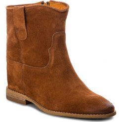 Botki CARINII - B4125/L J50-000-000-B89. Brązowe buty zimowe damskie Carinii, z materiału, na obcasie. W wyprzedaży za 169,00 zł.