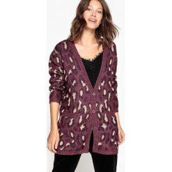 Sweter rozpinany, z dekoltem w serek, długi. Brązowe kardigany damskie La Redoute Collections, l, z motywem zwierzęcym, z elastanu. Za 125,96 zł.
