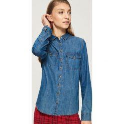 Jeansowa koszula - Niebieski. Niebieskie koszule jeansowe damskie Sinsay, l. W wyprzedaży za 39,99 zł.