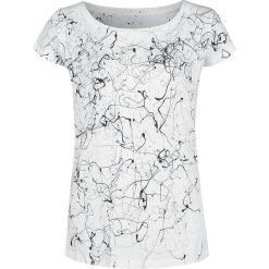 Bluzki asymetryczne: Outer Vision Marilyn Dripped Black Koszulka damska biały