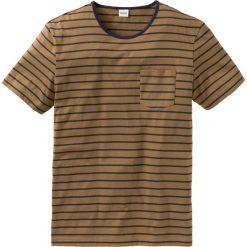 T-shirty męskie: T-shirt w paski Regular Fit bonprix koniakowo-ciemnoniebieski