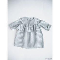 Sukienka z falbanką, BLUE STRIPES. Niebieskie sukienki dziewczęce z falbanami Pakamera, z bawełny, z długim rękawem, długie. Za 85,00 zł.