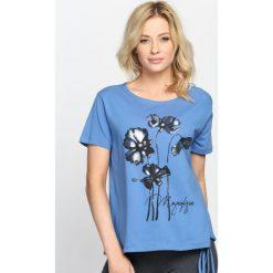 Niebieski T-shirt See The Sunsup. Niebieskie bluzki damskie Born2be, m. Za 24,99 zł.