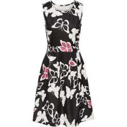Sukienki: Sukienka z nadrukiem w motyle bonprix czarno-kremowy