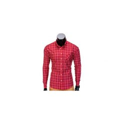 KOSZULA MĘSKA W KRATĘ Z DŁUGIM RĘKAWEM K390 - CZERWONA. Czarne koszule męskie na spinki marki Ombre Clothing, m, z bawełny, z kapturem. Za 39,00 zł.