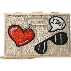Kopertówki damskie: Love Moschino GLITTER PATCHES BOXBAG Kopertówka oro