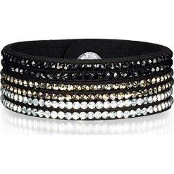 Bransoletki damskie na nogę: Bransoletka w kolorze czarnym ze szklanymi kryształkami