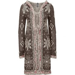 Swetry damskie: Sweter wiązany w ażurowy wzór bonprix brązowy