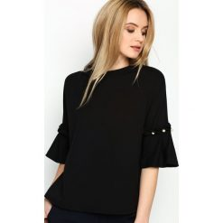 Bluzki asymetryczne: Czarna Bluzka Romantic Way