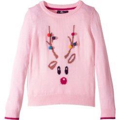 Sweter z motywem renifera bonprix jasnoróżowy pudrowy. Czerwone swetry dziewczęce bonprix, na zimę. Za 24,99 zł.