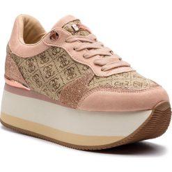Sneakersy GUESS - FL5HND FAL12 BEIBR BROWN. Brązowe sneakersy damskie Guess, z materiału. Za 549,00 zł.