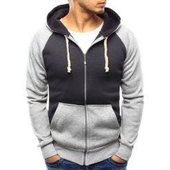 Bluzy męskie: Bluza męska rozpinana z kapturem grafitowa (bx3356)
