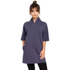 Bluzki, topy, tuniki: Niebieska Tunika Kimonowa z Wysokim Kołnierzem
