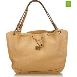 Torebki klasyczne damskie: Skórzana torebka w kolorze beżowym – 31 x 38 x 7 cm