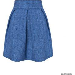Spódnica rozkloszowana kontrafałdy a'la jeans. Szare spódnice wieczorowe marki Pakamera, z jeansu, rozkloszowane. Za 119,00 zł.