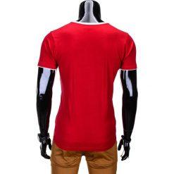 T-shirty męskie: T-SHIRT MĘSKI BEZ NADRUKU S679 - CZERWONY
