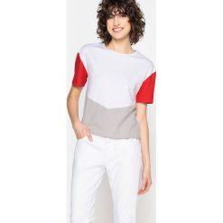 Trójkolorowa koszulka z okrągłym wycięciem szyi i krótkim rękawem. Szare bluzki z odkrytymi ramionami marki La Redoute Collections, m, z bawełny, z kapturem. Za 58,76 zł.