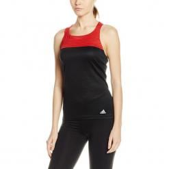 Top w kolorze czerwono-czarnym. Czarne topy sportowe damskie Adidas, Reebok, xs, z nadrukiem, z materiału. W wyprzedaży za 49,95 zł.