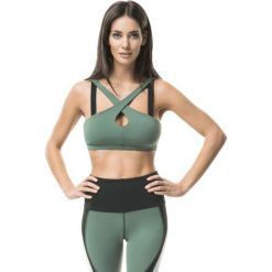 Topy sportowe damskie: Cardio Bunny 1E sienna DARK JUNGLE crop-top zielony r. M