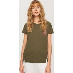 T-shirty damskie: T-shirt z ozdobną kieszonką – Khaki