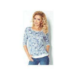 Bluzy damskie: BLUZA W KWIATY BŁĘKITNA W RÓŻE