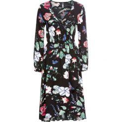 Sukienki hiszpanki: Sukienka kopertowa bonprix czarny w kwiaty