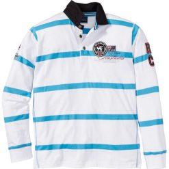 Koszulki polo: Shirt polo z długim rękawem Regular Fit bonprix biało-turkusowy w paski