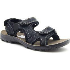 Sandały męskie: Sandały męskie skórzane na rzepy czarne Hasby