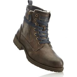 Kozaki sznurowane Mustang bonprix brązowy. Brązowe buty zimowe męskie marki bonprix, na sznurówki. Za 299,99 zł.