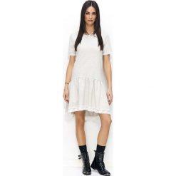 Sukienki: Beżowa Sukienka z Falbanką z Ozdobną Koronką