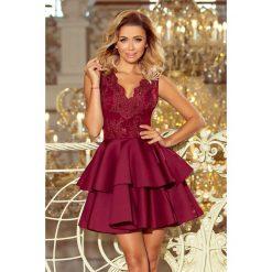 GLAMOUR - ekskluzywna sukienka z koronkowym dekoltem i pianką - BORDOWA. Czerwone sukienki balowe numoco, s, z haftami, z koronki, rozkloszowane. Za 297,00 zł.