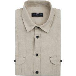 Koszula ALESSIO 15-01-17. Brązowe koszule męskie na spinki marki QUECHUA, m, z elastanu, z krótkim rękawem. Za 199,00 zł.
