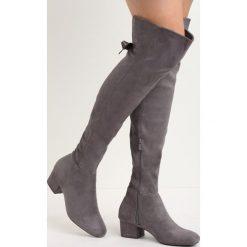 Szare Kozaki Winter Is Coming. Szare buty zimowe damskie marki Born2be, za kolano, na płaskiej podeszwie. Za 94,99 zł.