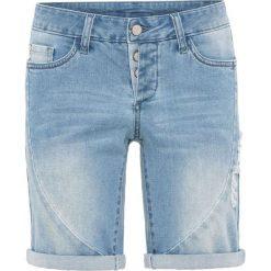 Szorty dżinsowe bonprix niebieski bleached. Niebieskie bermudy damskie bonprix, z jeansu. Za 109,99 zł.