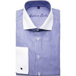 Koszula VITTORE slim 14-09-24. Białe koszule męskie na spinki Giacomo Conti, m, w paski, z bawełny, z włoskim kołnierzykiem. Za 229,00 zł.