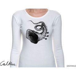 Trąbka - damska koszulka z długim rękawem. Białe bluzki longsleeves Pakamera. Za 79,00 zł.