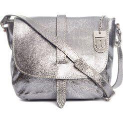 Torebki klasyczne damskie: Skórzana torebka w kolorze srebrnym – 24 x 20 x 9 cm