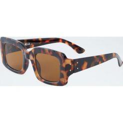 Prostokątne rogowe okulary przeciwsłoneczne. Szare okulary przeciwsłoneczne damskie lenonki marki ORAO. Za 49,90 zł.