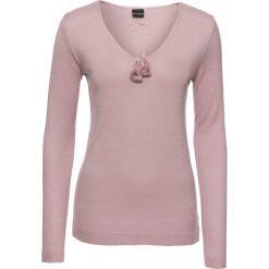 Swetry klasyczne damskie: Sweter bonprix dymny różowy