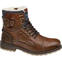 Kozaki męskie Tom Tailor koniakowe. Brązowe buty zimowe męskie Tom Tailor, z materiału, na sznurówki. Za 299,90 zł.