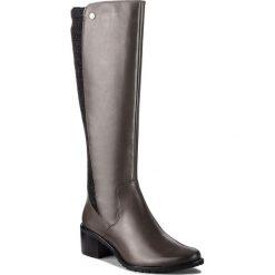Kozaki CAPRICE - 9-25512-21 Dk Grey Nappa 213. Czarne buty zimowe damskie Caprice, z materiału, przed kolano, na wysokim obcasie. W wyprzedaży za 359,00 zł.