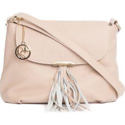 Torebki klasyczne damskie: Skórzana torebka w kolorze jasnoróżowym – 27 x 22 x 10 cm