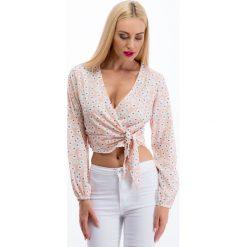 Bluzki asymetryczne: Pudrowy róż krótka bluzka w kwiaty 20188